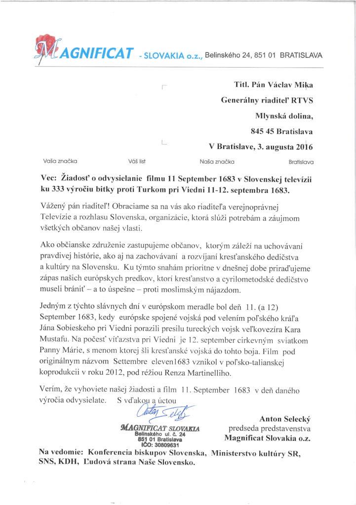 Žiadosť na RTVS